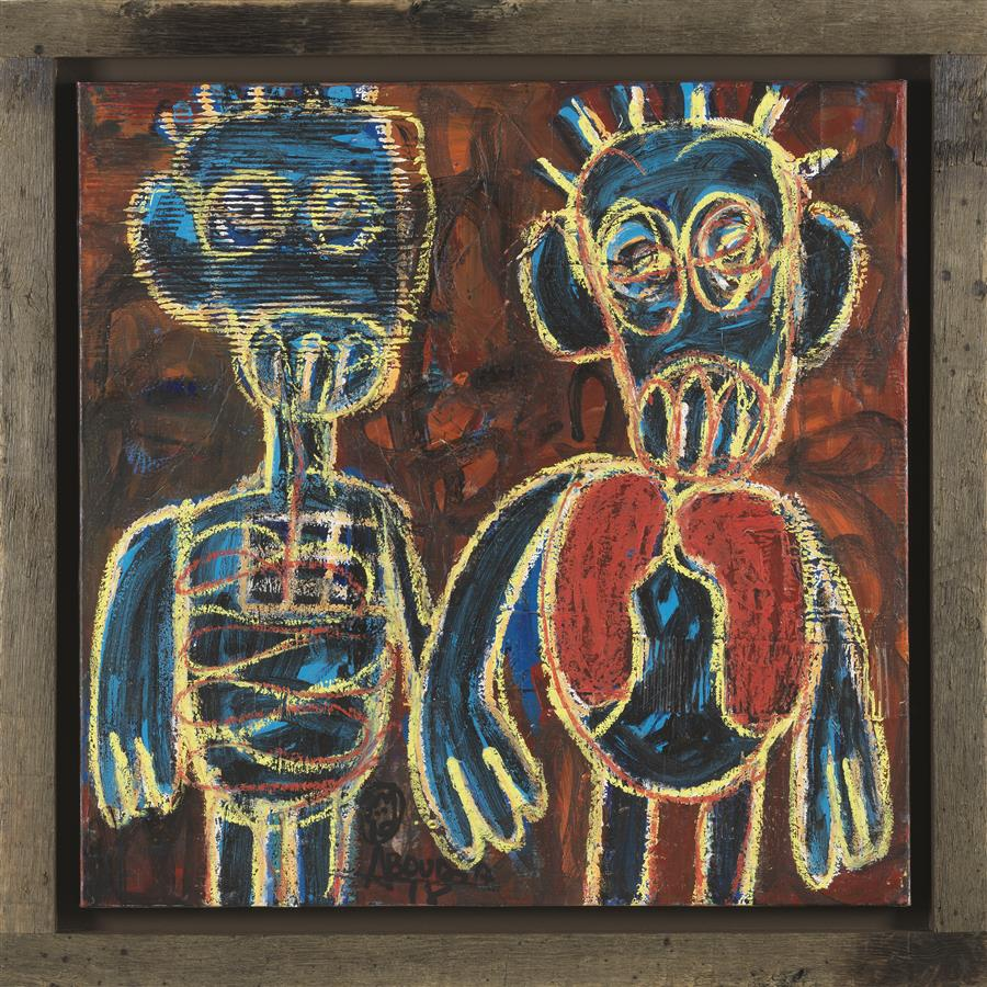 "Aboudia-""Deux amis""-Oil on canvas-100 x 100 cm"