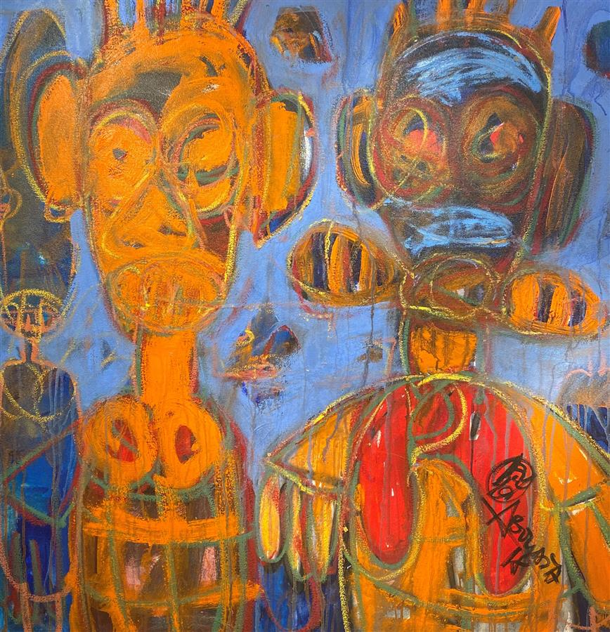 Aboudia 20-Oil on canvas-120 x 120 cm