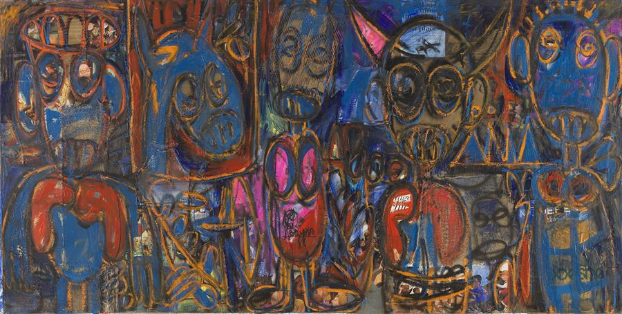 "Aboudia-""Djinan I""-Oil on canvas-150 x 300 cm"