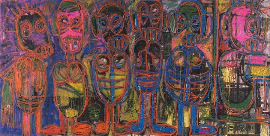 "Aboudia-""6 partenaires""-Oil on canvas-150 x 300 cm"