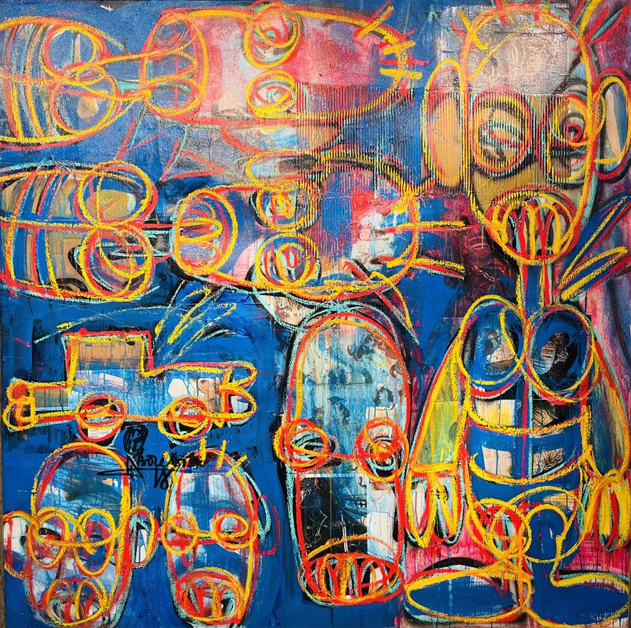 Aboudia 25-Oil on canvas-150 x 150 cm