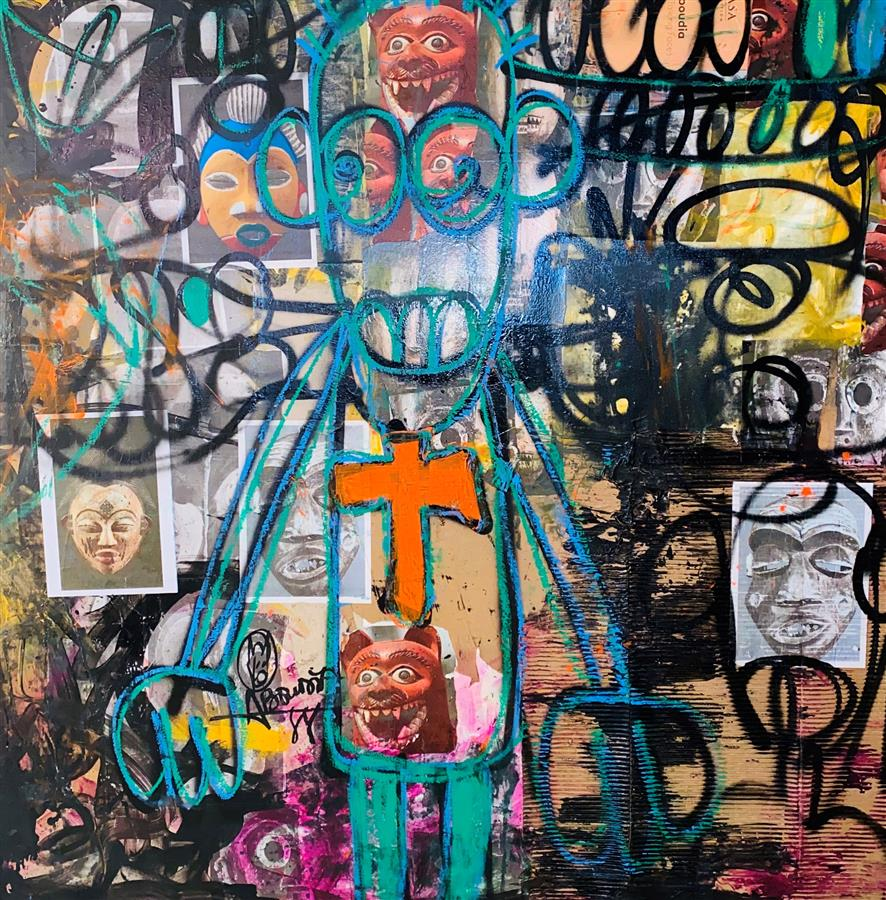 "Aboudia Nr.12-""Le docteur""-Acrylic, oilstick and mixed media collage on canvas-150 x 150 cm"